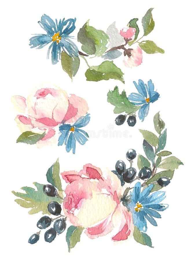 Conception décorative de collection des fleurs et des feuilles d'aquarelle dans le style de vintage illustration stock