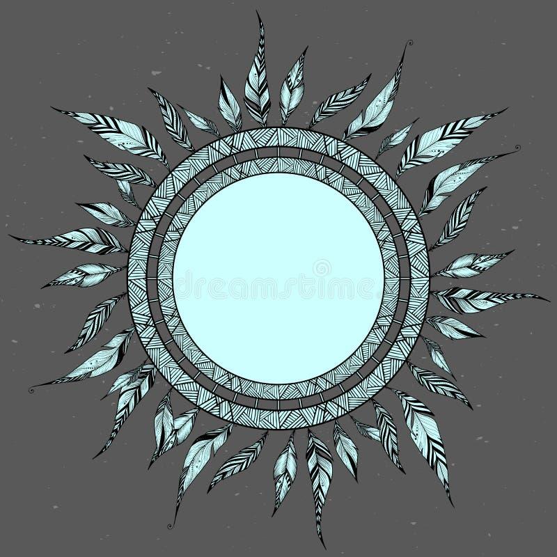 Conception décorative ethnique de cadre avec les plumes ornementales, vecteur illustration stock