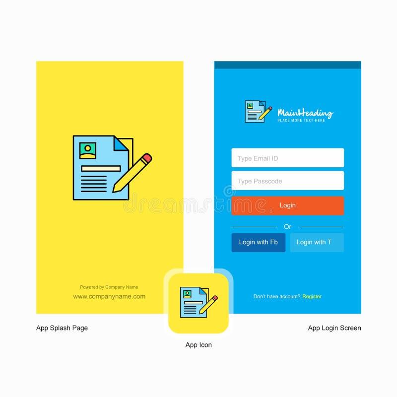 Conception d'écran d'éclaboussure de cv de société et de page d'ouverture avec le calibre de logo Calibre en ligne mobile d'affai illustration de vecteur