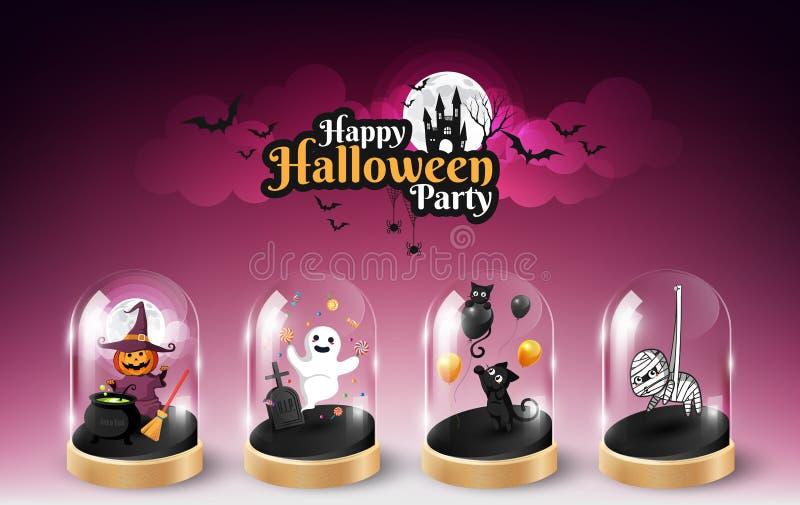 Conception d'élément de caractère de Halloween dans le dôme et le lettrage en verre de Halloween, concept de des bonbons ou un so illustration stock