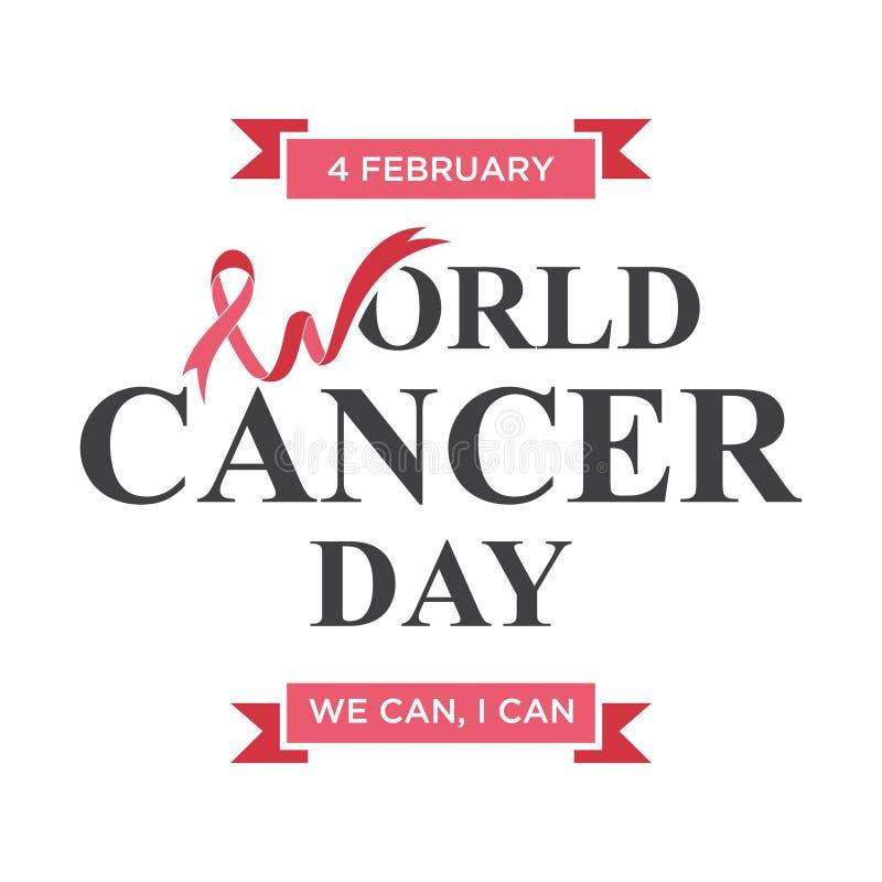 Conception d'élément de lettrage de jour de cancer du monde avec le ruban formé par W de lettre illustration libre de droits