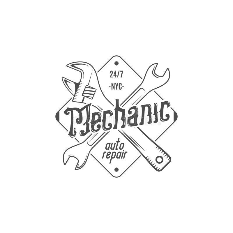 Conception d'étiquette de cru Correction de réparation automatique de mécanicien dans le style ancien avec des outils Utilisation illustration libre de droits