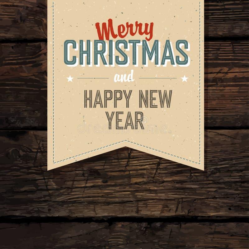 Conception d'étiquette de vintage de Joyeux Noël sur les planches rouges illustration de vecteur
