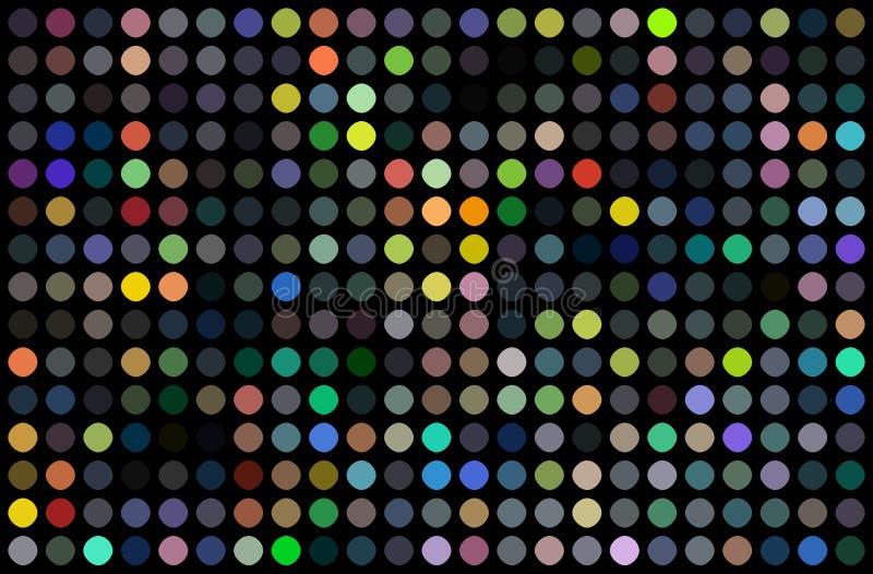 Conception d'abrégé sur mur mitoyen de disco Mosaïque colorée de points sur le fond noir Feux verts bleus rouges jaunes lumineux illustration libre de droits