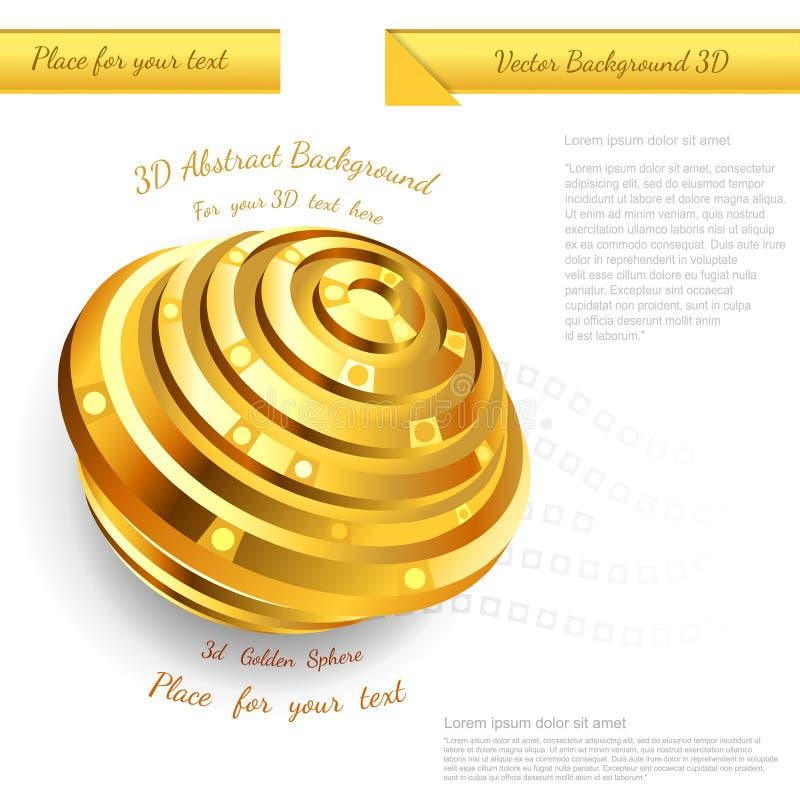 Conception d'or abstraite de sphère pour votre illustration promotionnelle d'affaires illustration de vecteur