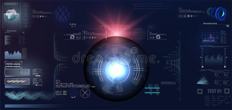 Conception d'affichage à lecture tête haute futuriste de VR Casque HUD de la science fiction Future conception d'affichage de tec illustration stock