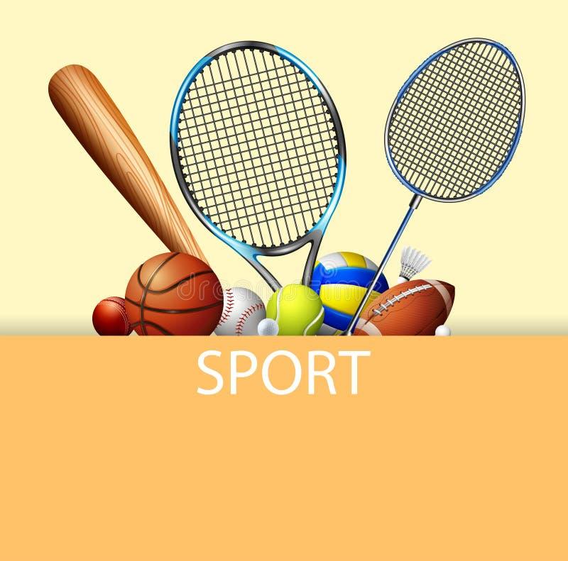 Conception d'affiche avec des équipements de sport illustration libre de droits