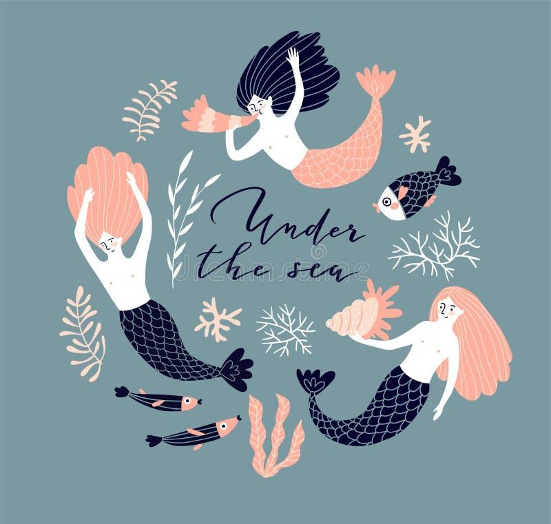 Conception d'affiche avec des sirènes, des poissons et la coquille de natation Fond sous-marin avec le lettrage - ` sous le ` de  illustration libre de droits