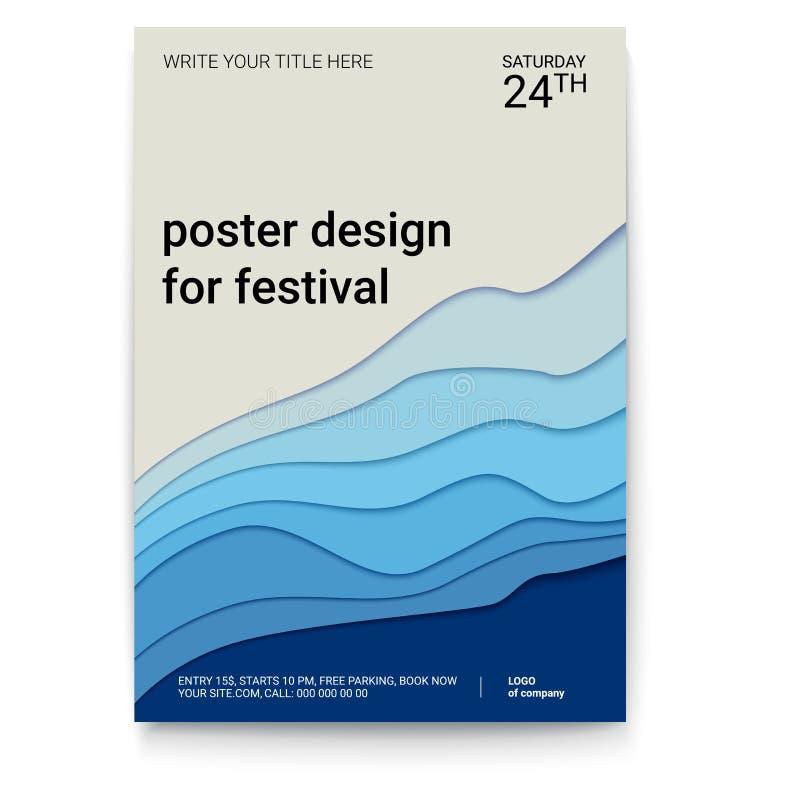 Conception d'affiche avec un modèle de papier coupé Le symbole du ressac, du vent ou de la fumée, modèle abstrait, taille A4 Vect illustration de vecteur