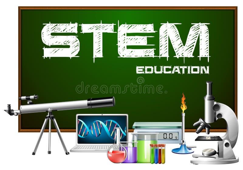 Conception d'affiche d'éducation de tige avec des équipements de la science illustration stock