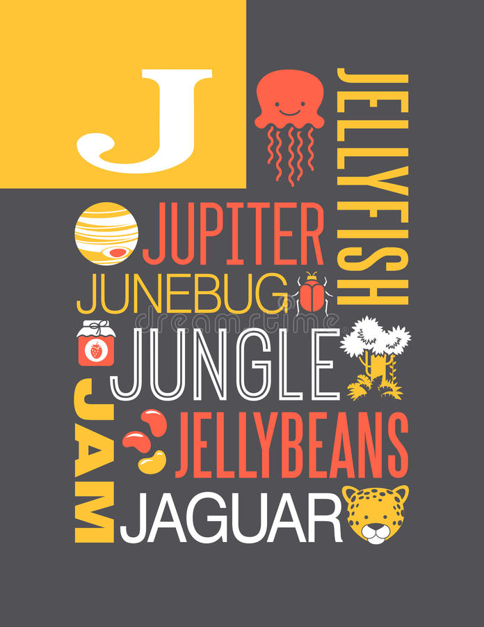 Conception d'affiche d'alphabet d'illustration de typographie de mots de la lettre J illustration stock