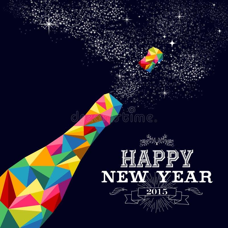Conception 2015 d'affiche de bouteille de champagne de nouvelle année illustration libre de droits