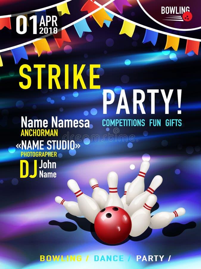 Conception d'affiche de bowling illustration stock