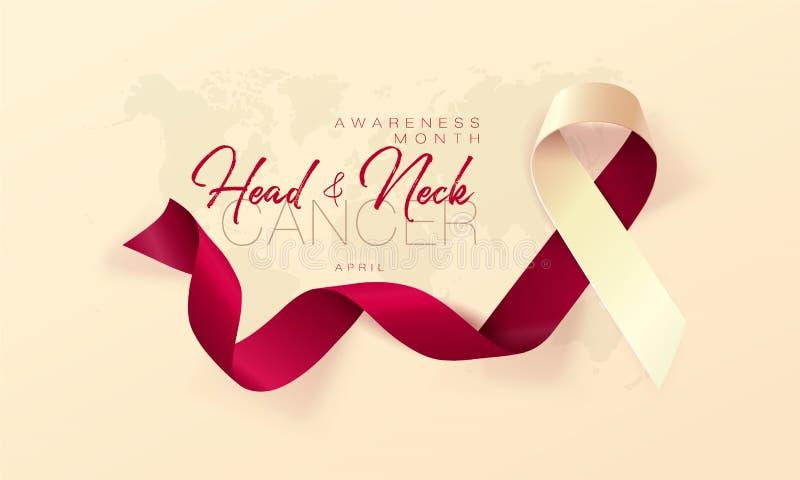 Conception d'affiche de calligraphie de conscience de cancer de la tête et du cou Bourgogne réaliste et ruban en ivoire Avril est illustration stock