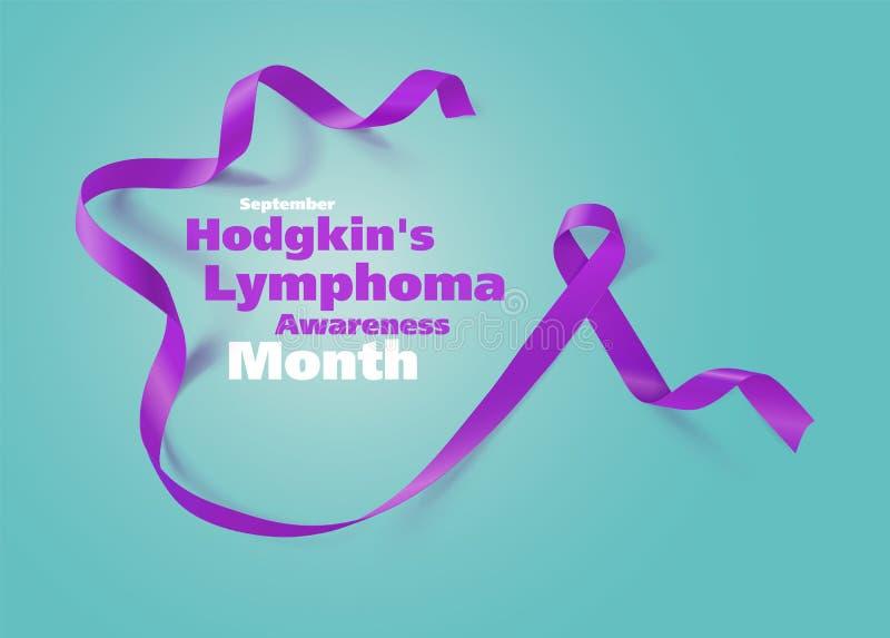 Conception d'affiche de calligraphie de conscience de lymphome hodgkinien Violet Ribbon r?aliste Septembre est mois de conscience illustration de vecteur