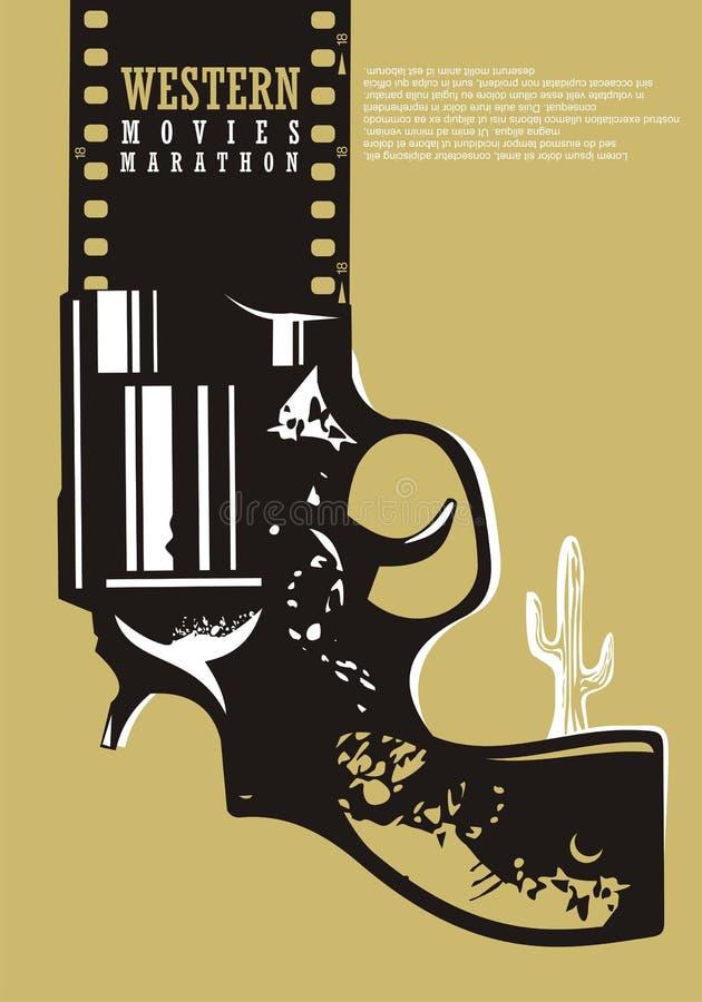 Conception d'affiche de cinéma de films occidentaux illustration stock