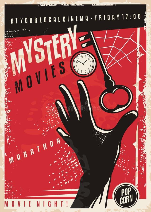 Conception d'affiche de cinéma de marathon de films de mystère rétro illustration de vecteur