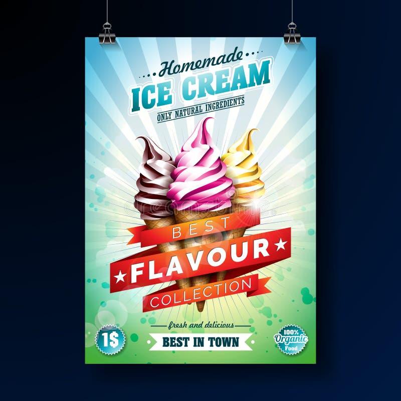 Conception d'affiche de crème glacée avec le dessert délicieux et le ruban marqué sur le fond vert frais Calibre de conception de illustration de vecteur