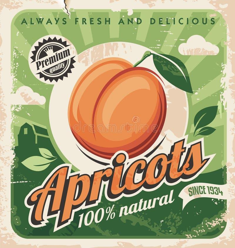 Conception d'affiche de cru d'abricots illustration libre de droits