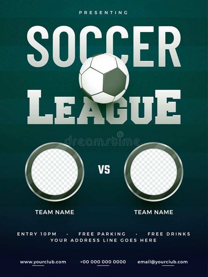 Conception d'affiche de ligue de football avec le nom de deux adversaires, et match s illustration de vecteur