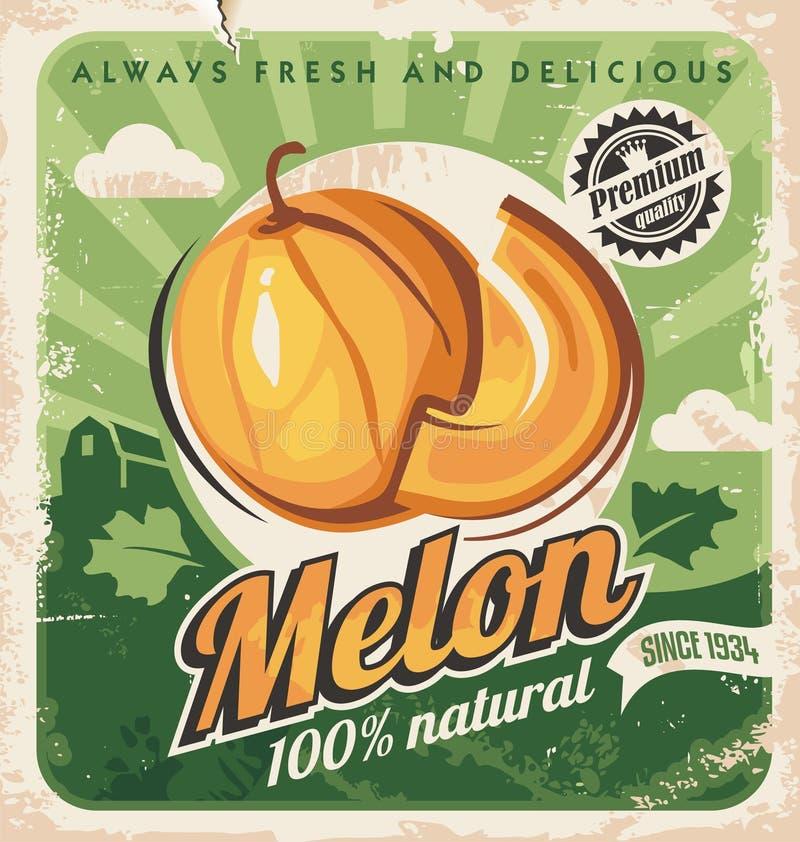 Conception d'affiche de melon de cantaloup rétro illustration libre de droits
