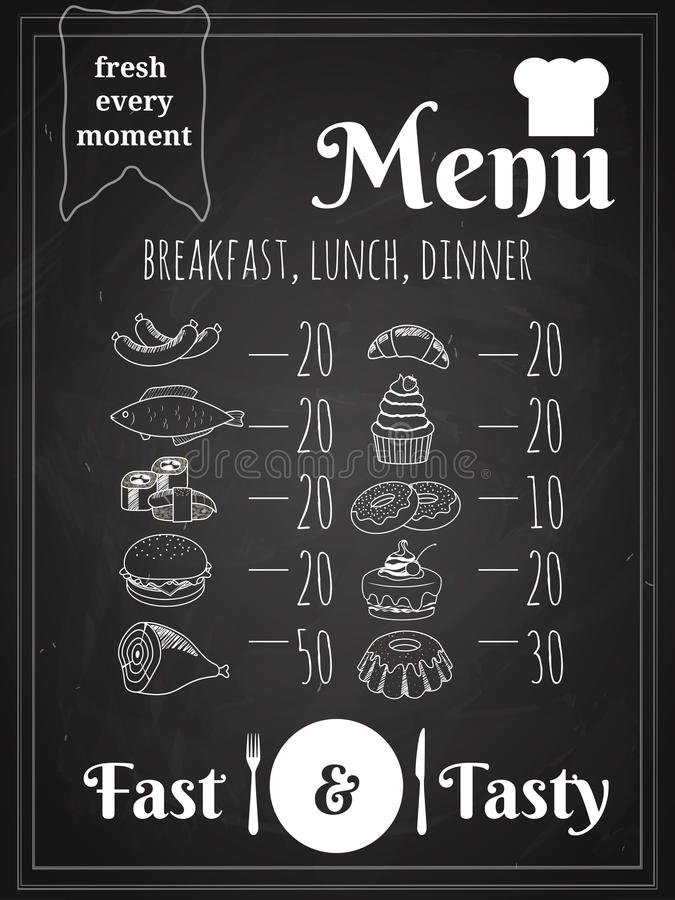 Conception d'affiche de menu de nourriture de vecteur illustration stock