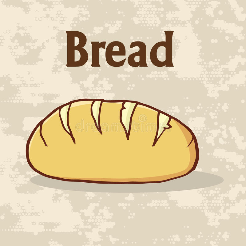 Conception d'affiche de pain de pain de bande dessinée avec le texte illustration de vecteur