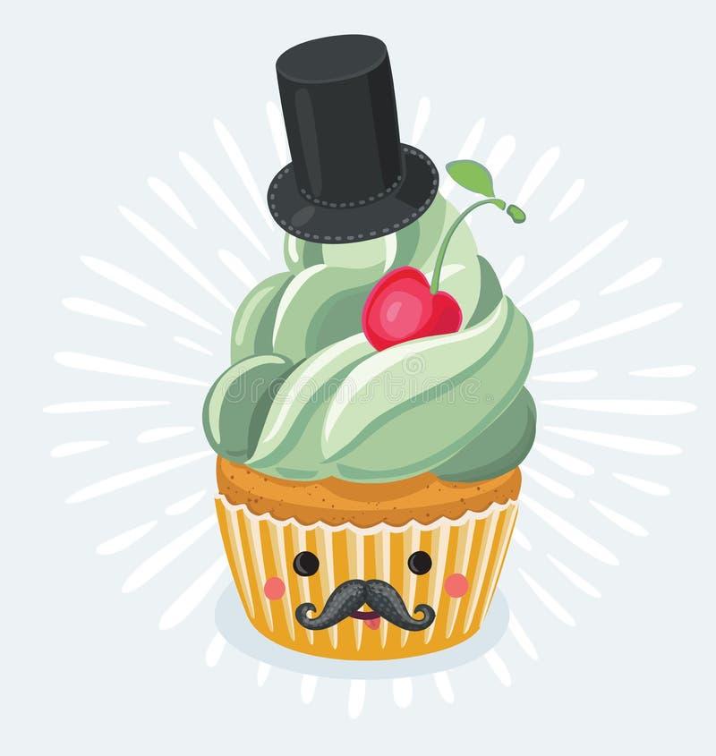 Conception d'affiche de petit gâteau de jour du ` s de père de vintage illustration stock