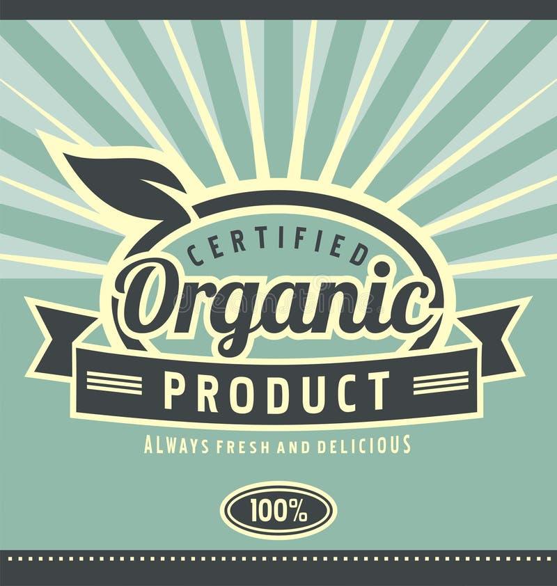 Conception d'affiche de produit biologique de vintage illustration de vecteur