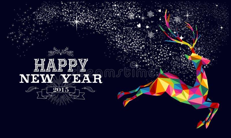 Conception 2015 d'affiche de renne de nouvelle année illustration libre de droits