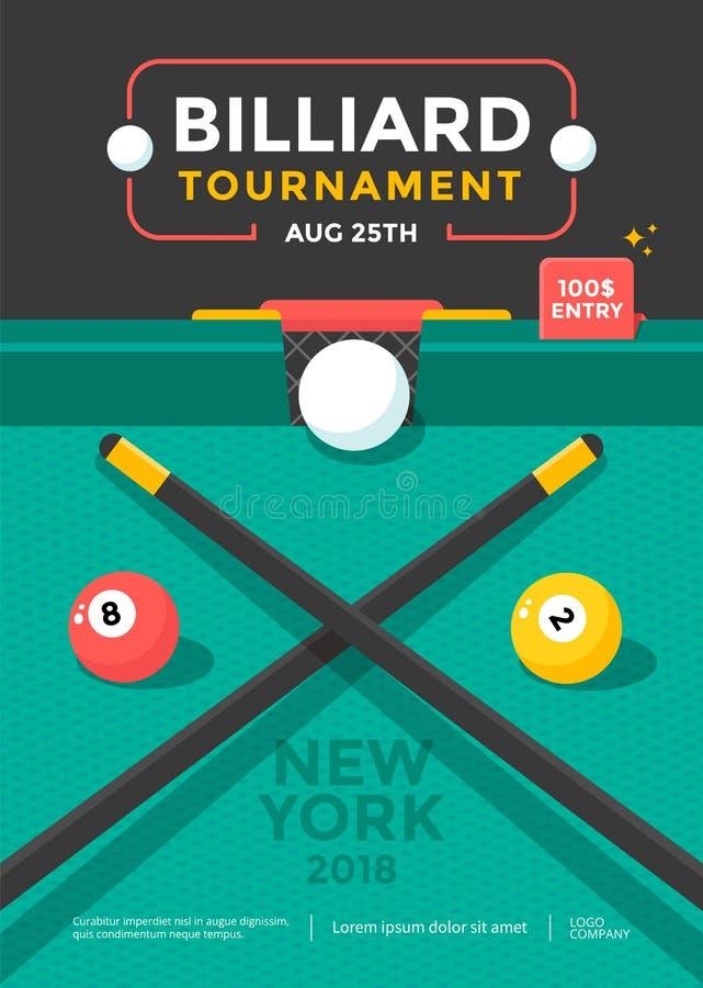 Conception d'affiche de sport de tournoi de billard avec la boule illustration stock