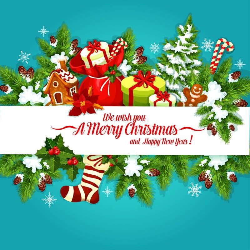 Conception d'affiche de vacances de Noël et de nouvelle année illustration de vecteur
