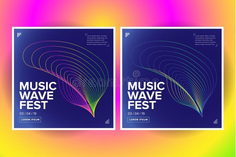 Conception d'affiche de vague de la musique 2 Insecte sain avec la ligne abstraite vagues de gradient Illustration d'isolement de illustration de vecteur