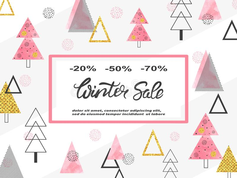 Conception d'affiche de vente d'hiver avec des arbres de Noël illustration de vecteur