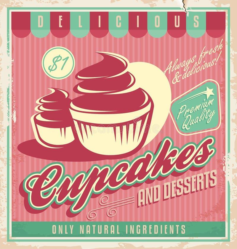 Conception d'affiche de vintage de petits gâteaux illustration de vecteur