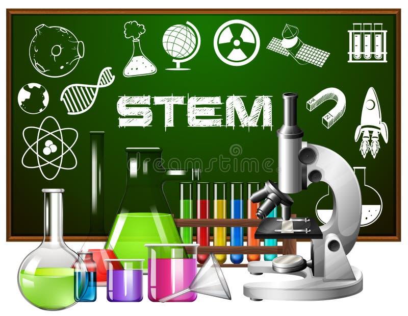 Conception d'affiche pour l'éducation de tige avec des outils de la science illustration stock