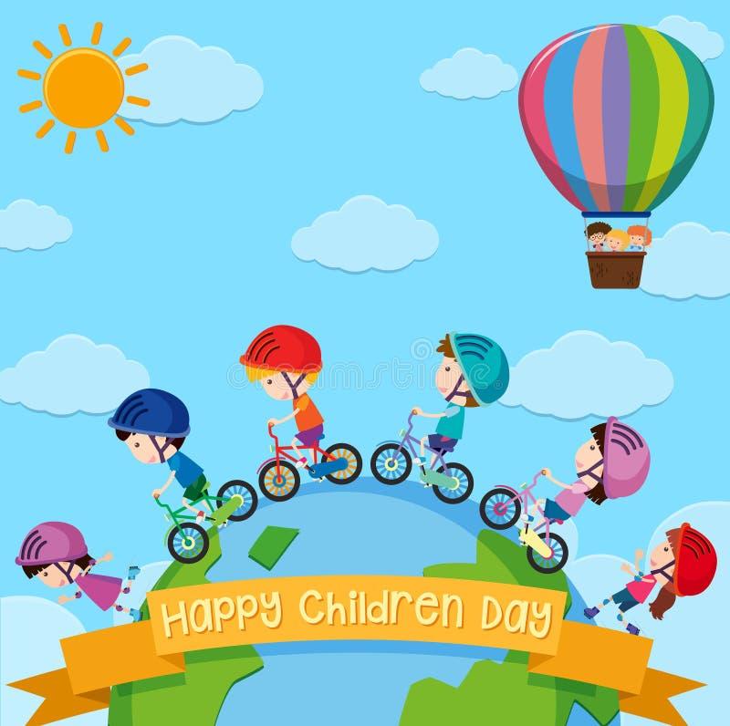 Conception d'affiche pour le jour d'enfants avec des enfants autour du monde illustration de vecteur
