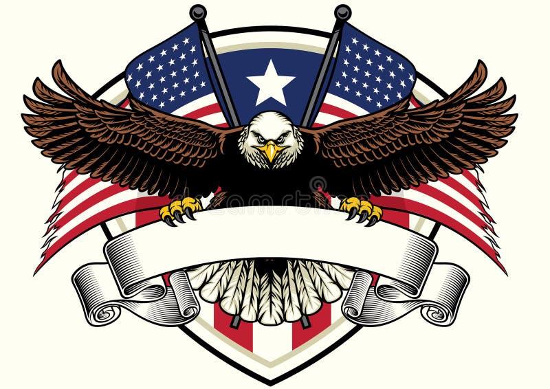 Conception d'aigle chauve tenant le ruban vide avec des drapeaux des Etats-Unis illustration stock