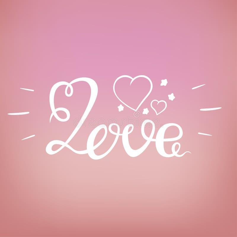 Conception d'amour au-dessus d'illustration rose de fond photos stock