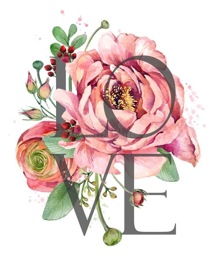 Conception d'amour Carte de voeux de jour de Valentines Illustration rose de fleurs d'aquarelle illustration stock