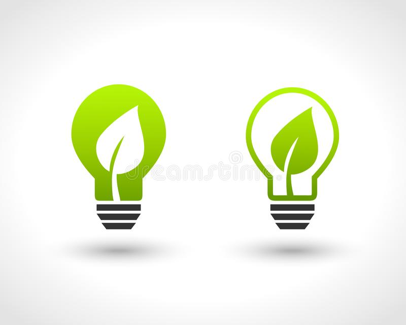 Conception d'ampoule avec la feuille illustration de vecteur