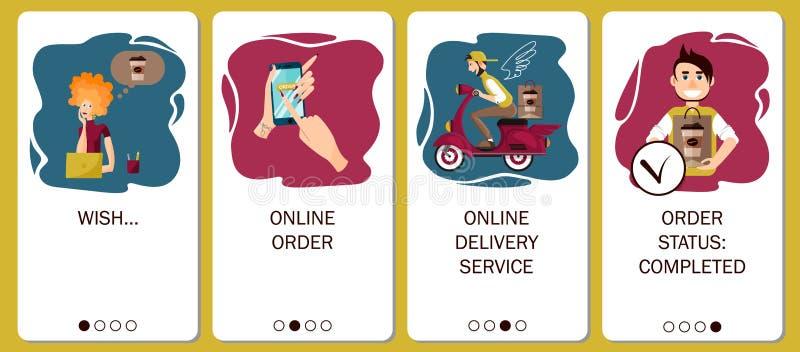 Conception d'appli mobile aux ?crans onboarding Service en ligne d'ordre, la livraison de café, café d'ordre dans le café en lign illustration de vecteur