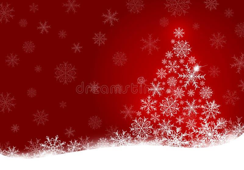 Conception d'arbre de Noël de flocon de neige sur le fond rouge illustration stock