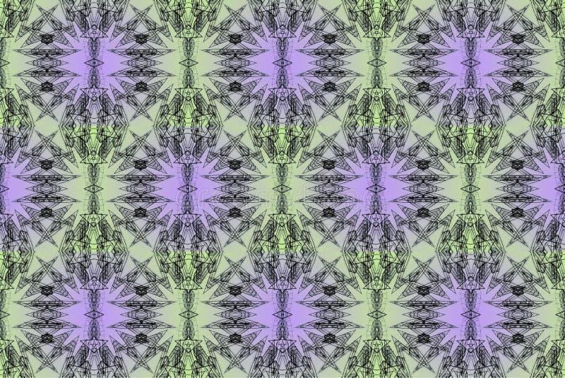 Conception d'art de Digital avec le modèle en filigrane vert et lilas illustration stock
