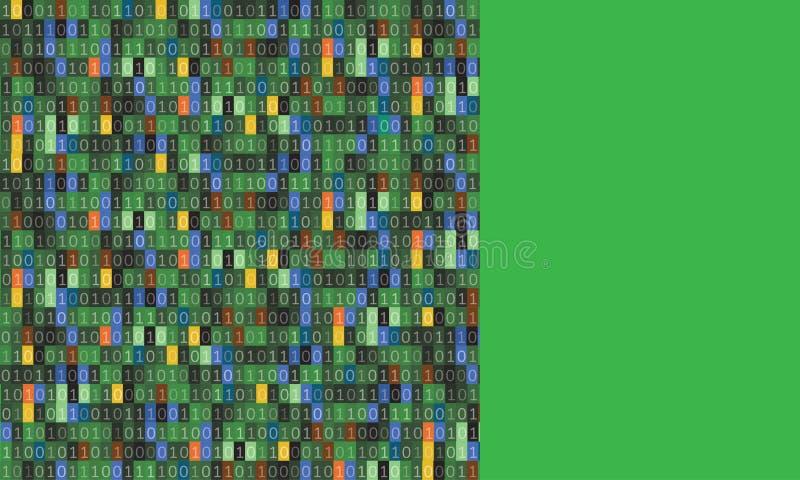 Conception d'art de fond de matrice d'ordinateur de code binaire Chiffres sur l'?cran Données graphiques de concept de résumé, te illustration libre de droits