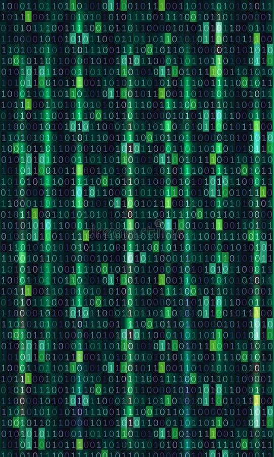 Conception d'art de fond de matrice d'ordinateur de code binaire Chiffres sur l'?cran Donn?es graphiques de concept de r?sum?, te illustration libre de droits