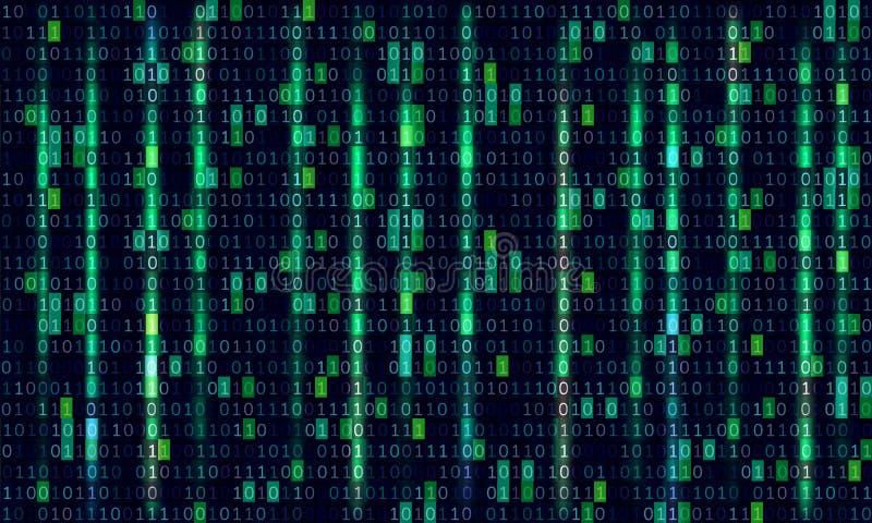 Conception d'art de fond de matrice d'ordinateur de code binaire Chiffres sur l'?cran Donn?es graphiques de concept de r?sum?, te illustration stock