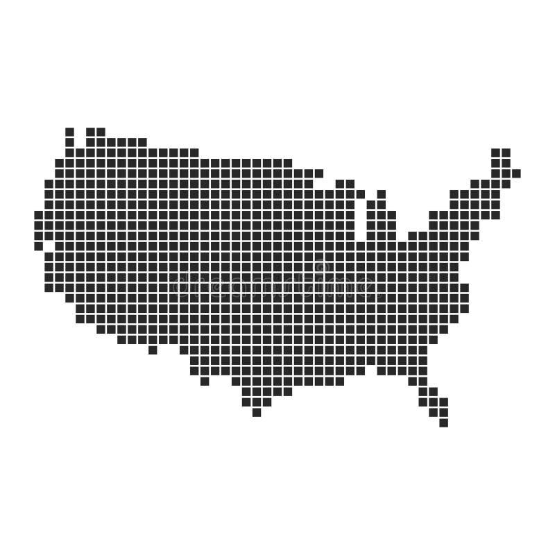 Conception d'art de pixel de carte de l'Amérique Illustration de vecteur illustration libre de droits