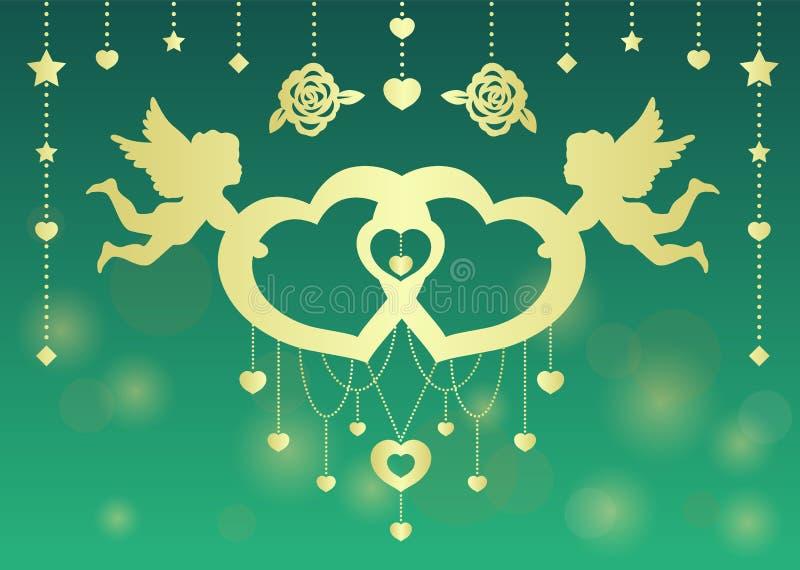 Conception d'art de vecteur de coeur de jumeaux de prise de cupidon de jumeaux d'or pour le jour du ` s de carte ou de valentine  illustration de vecteur