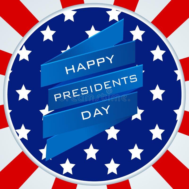 Conception d'autocollant ou de label pour la célébration heureuse des Présidents Day illustration de vecteur
